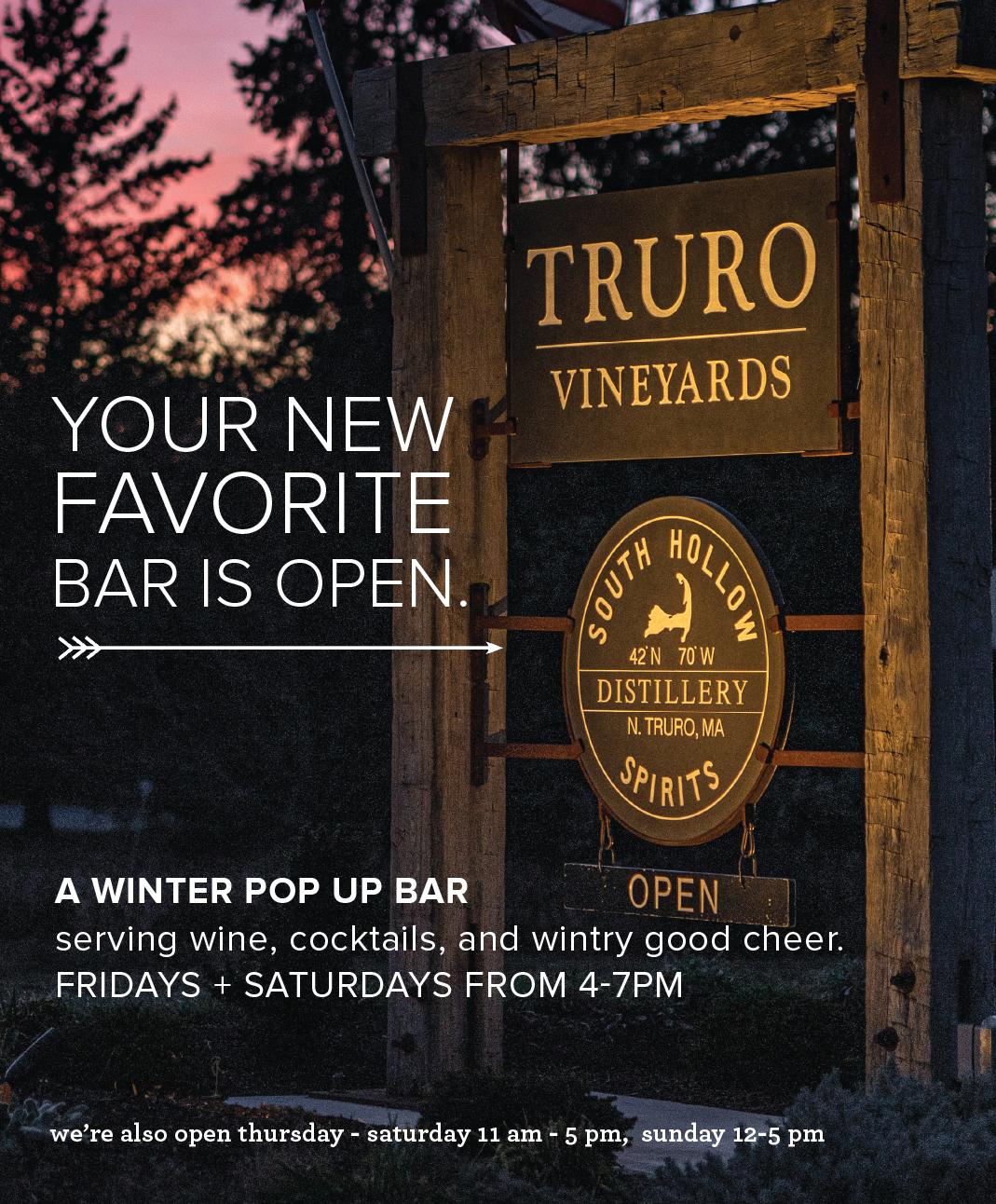 Tours and Tastings times and info South Hollow Spirits Truro MA